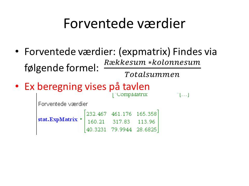 Forventede værdier Forventede værdier: (expmatrix) Findes via følgende formel: 𝑅æ𝑘𝑘𝑒𝑠𝑢𝑚 ∗𝑘𝑜𝑙𝑜𝑛𝑛𝑒𝑠𝑢𝑚 𝑇𝑜𝑡𝑎𝑙𝑠𝑢𝑚𝑚𝑒𝑛.
