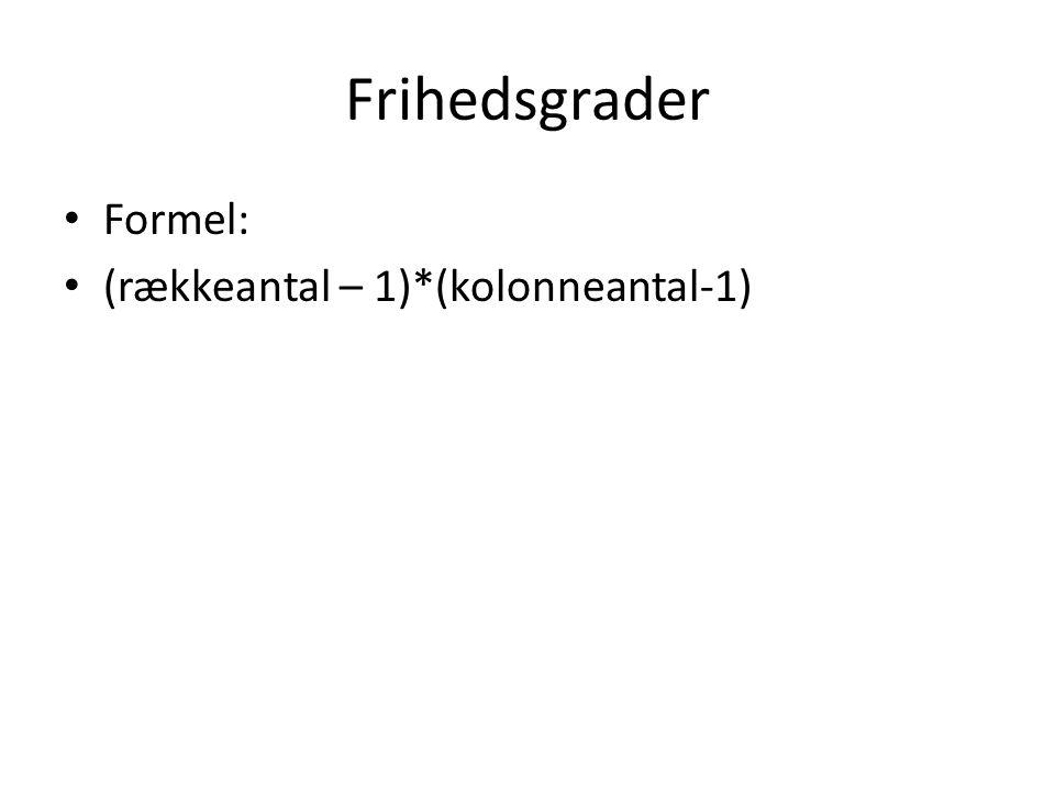 Frihedsgrader Formel: (rækkeantal – 1)*(kolonneantal-1)