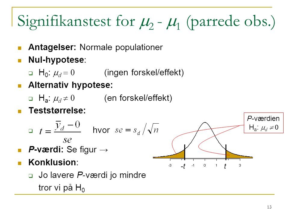 Signifikanstest for m2 - m1 (parrede obs.)