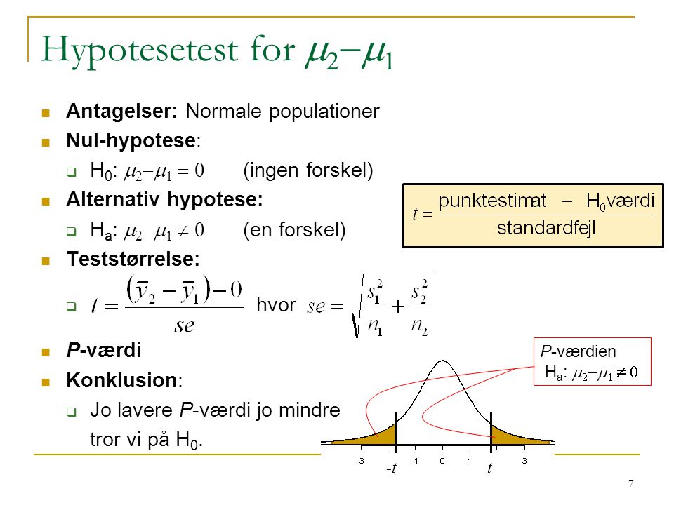 Hypotesetest for m2-m1 Antagelser: Normale populationer Nul-hypotese: