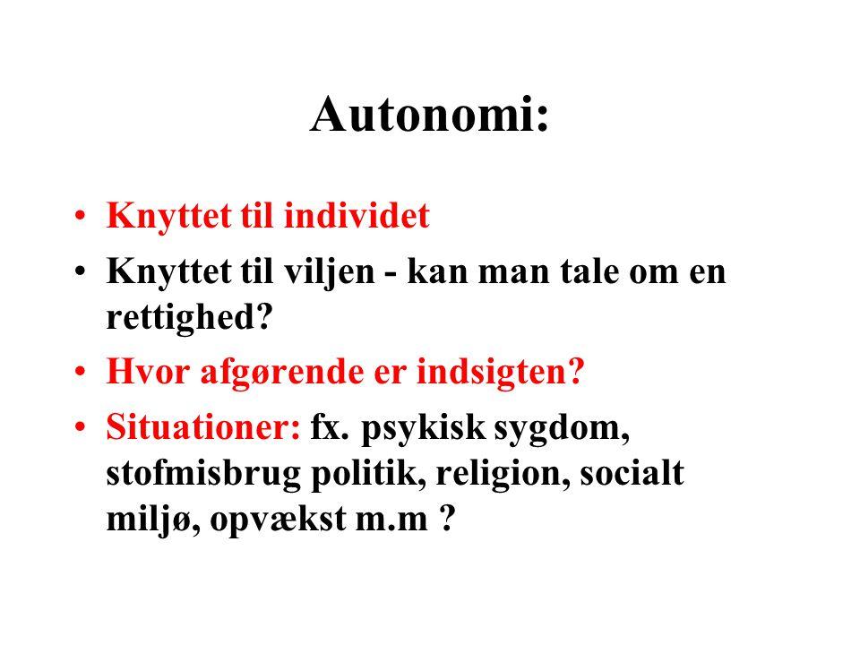 Autonomi: Knyttet til individet