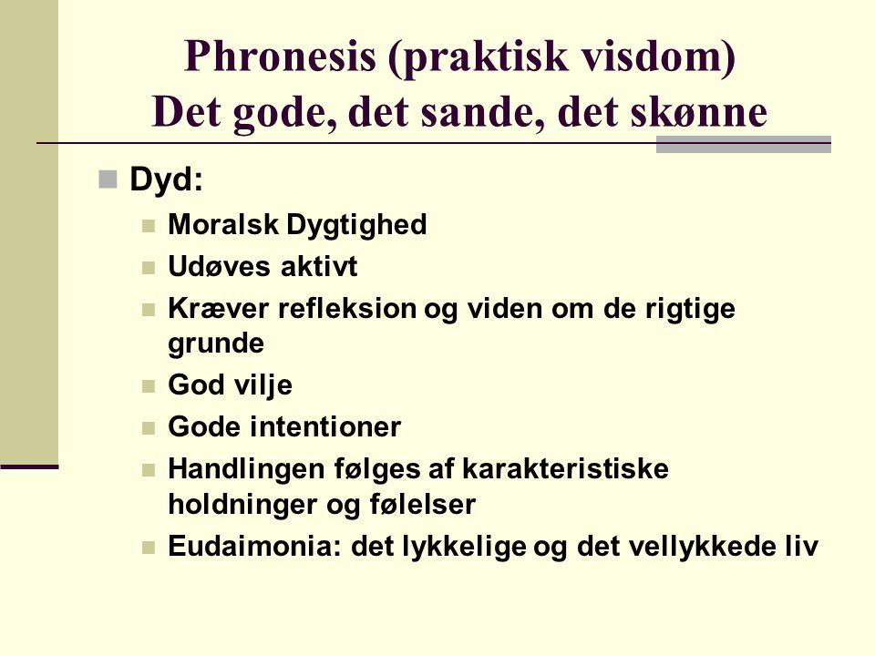 Phronesis (praktisk visdom) Det gode, det sande, det skønne