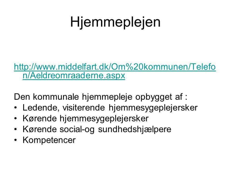 Hjemmeplejen http://www.middelfart.dk/Om%20kommunen/Telefon/Aeldreomraaderne.aspx. Den kommunale hjemmepleje opbygget af :