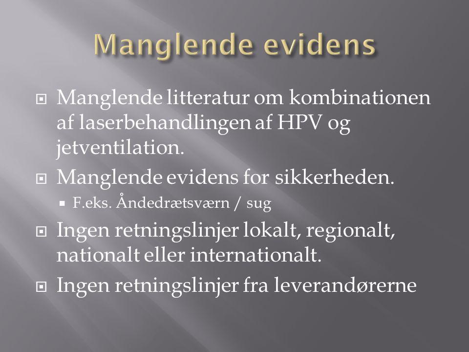 Manglende evidens Manglende litteratur om kombinationen af laserbehandlingen af HPV og jetventilation.