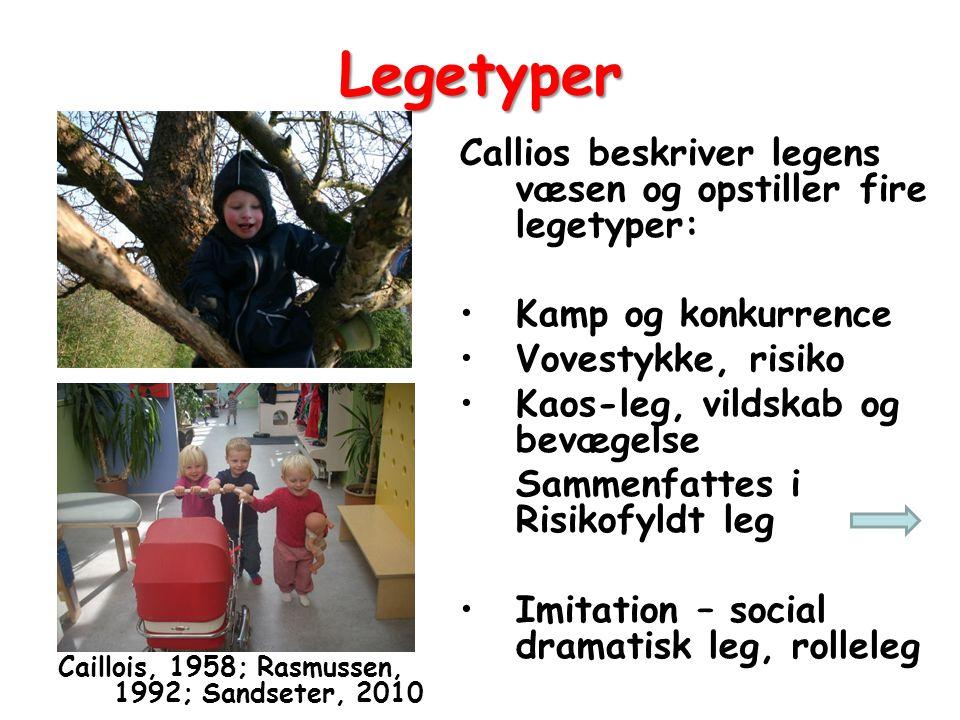 Legetyper Callios beskriver legens væsen og opstiller fire legetyper: