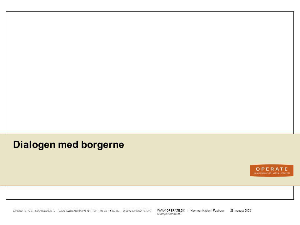 Dialogen med borgerne WWW.OPERATE.DK   Kommunikation i Faaborg-Midtfyn Kommune 28. august 2008
