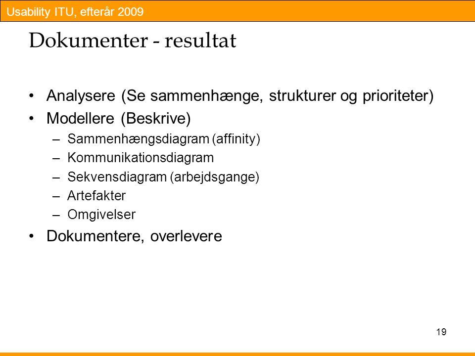 Dokumenter - resultat Analysere (Se sammenhænge, strukturer og prioriteter) Modellere (Beskrive) Sammenhængsdiagram (affinity)