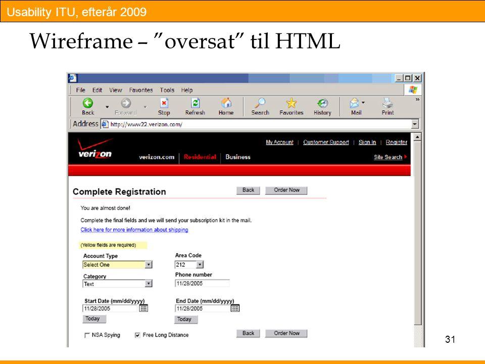 Wireframe – oversat til HTML