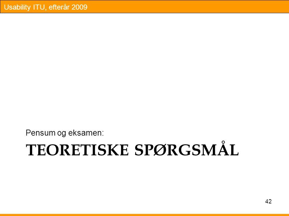 Pensum og eksamen: TEORETISKE SPØRGSMÅL