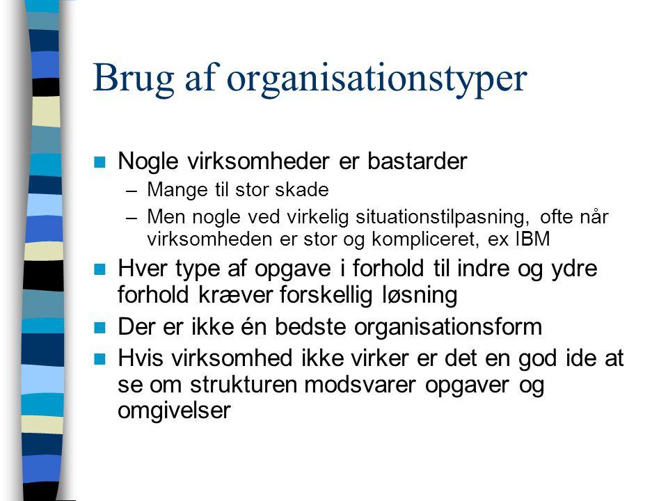Brug af organisationstyper