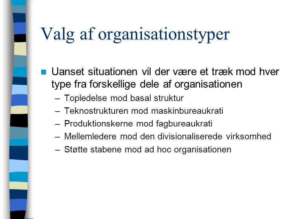 Valg af organisationstyper