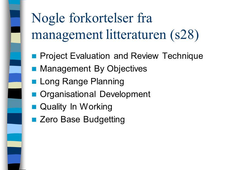 Nogle forkortelser fra management litteraturen (s28)