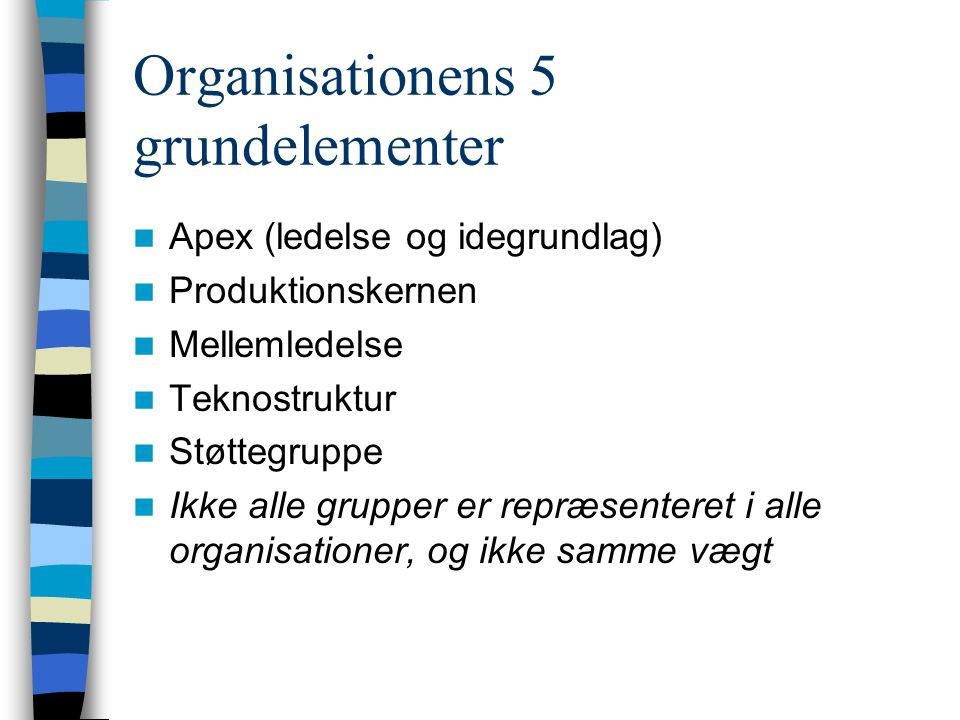 Organisationens 5 grundelementer