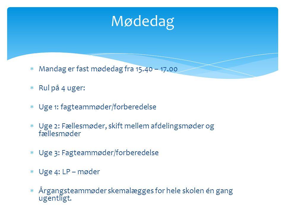 Mødedag Mandag er fast mødedag fra 15.40 – 17.00 Rul på 4 uger: