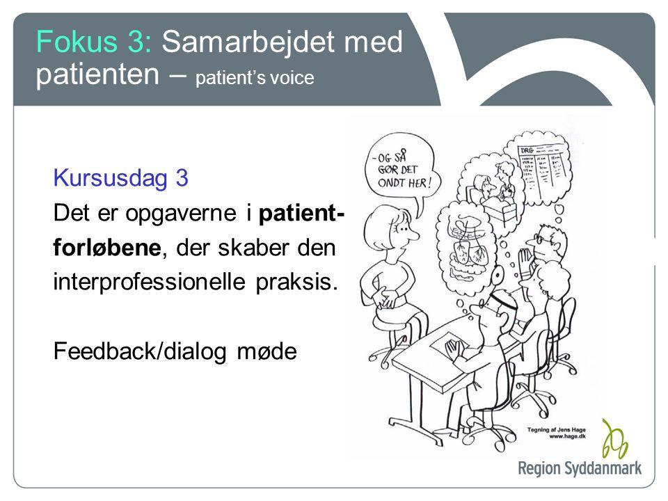 Fokus 3: Samarbejdet med patienten – patient's voice
