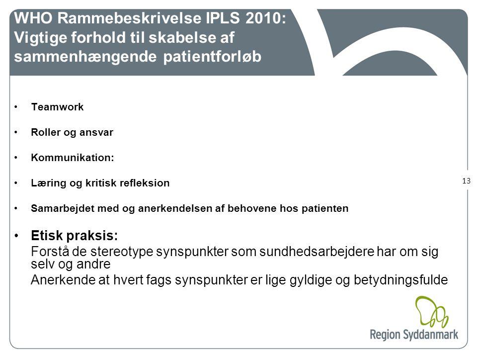 WHO Rammebeskrivelse IPLS 2010: Vigtige forhold til skabelse af sammenhængende patientforløb