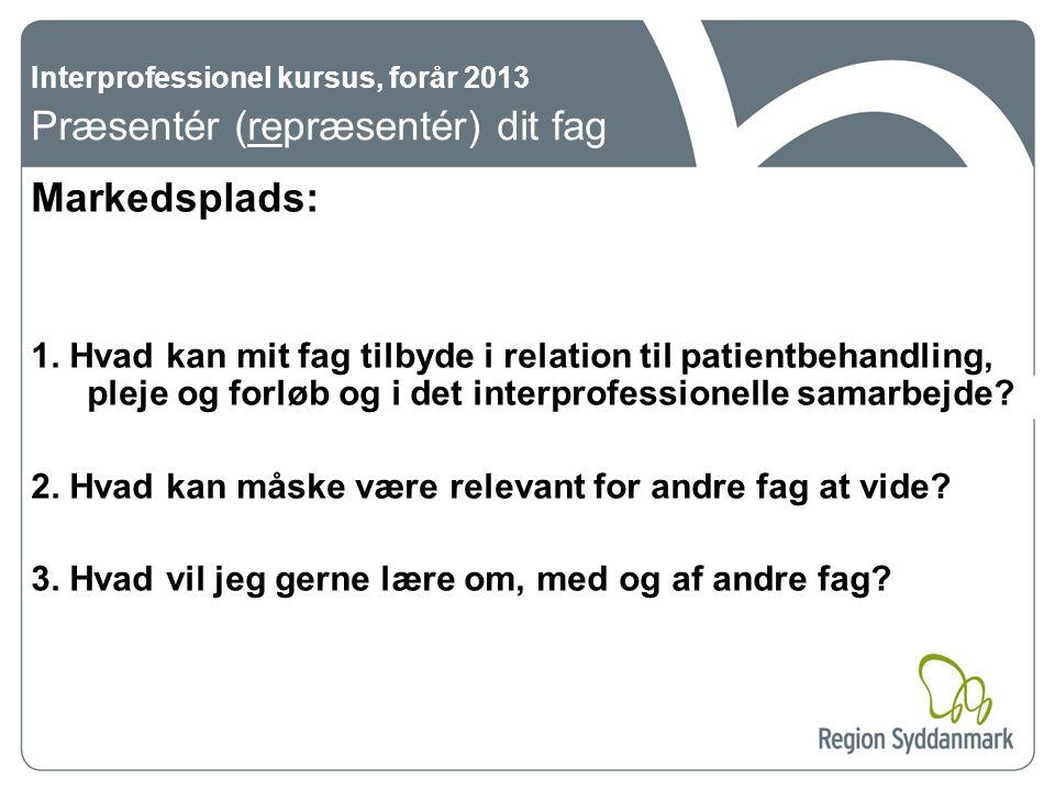 Interprofessionel kursus, forår 2013 Præsentér (repræsentér) dit fag