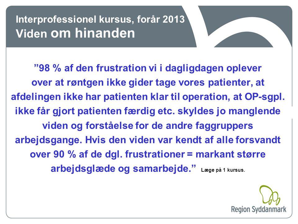 Interprofessionel kursus, forår 2013 Viden om hinanden