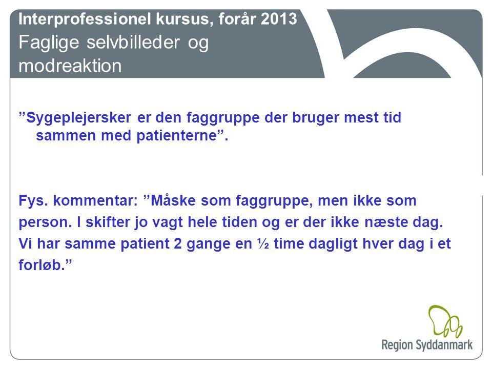 Interprofessionel kursus, forår 2013 Faglige selvbilleder og modreaktion