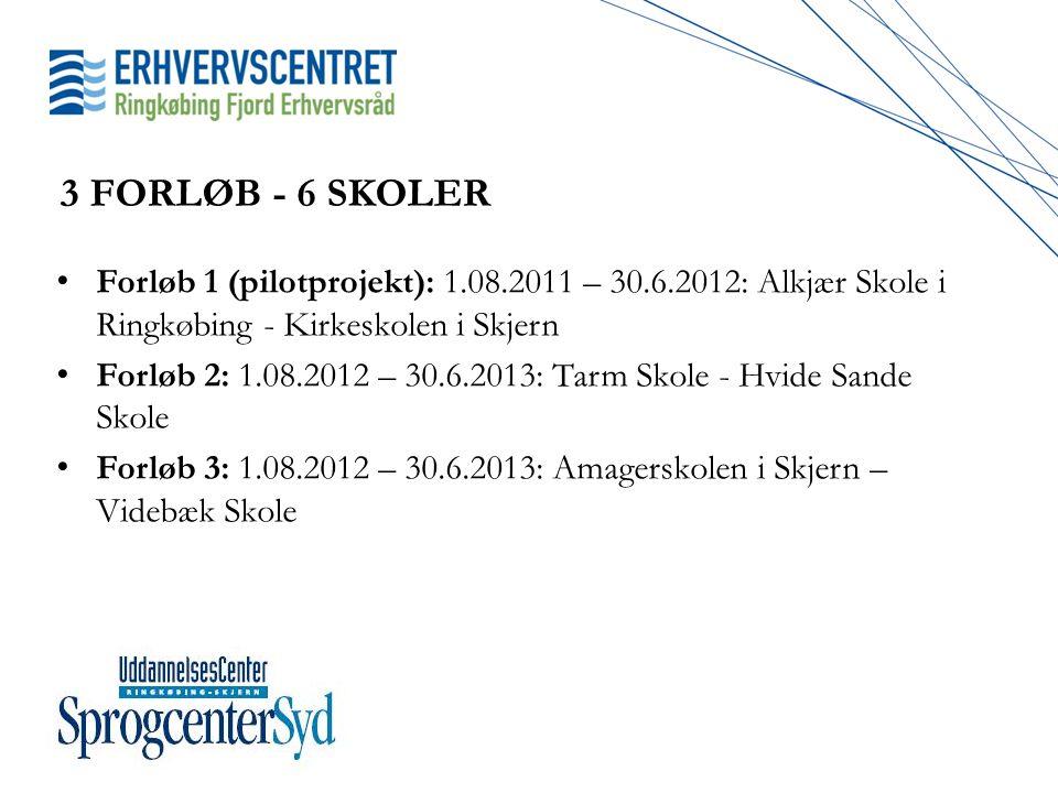 3 FORLØB - 6 SKOLER Forløb 1 (pilotprojekt): 1.08.2011 – 30.6.2012: Alkjær Skole i Ringkøbing - Kirkeskolen i Skjern.
