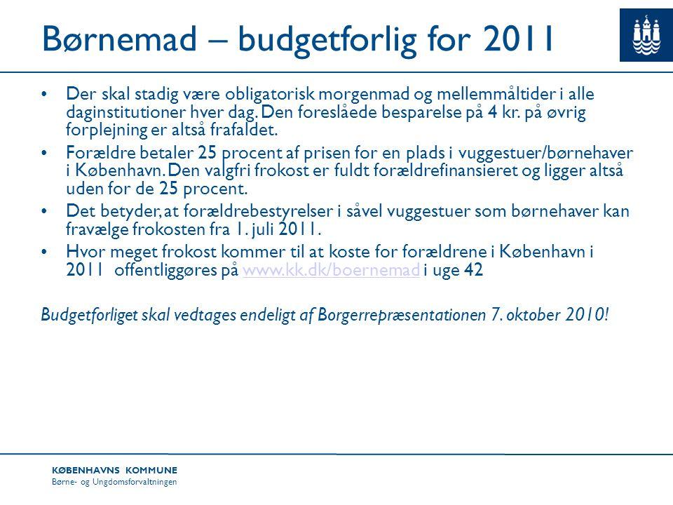 Børnemad – budgetforlig for 2011