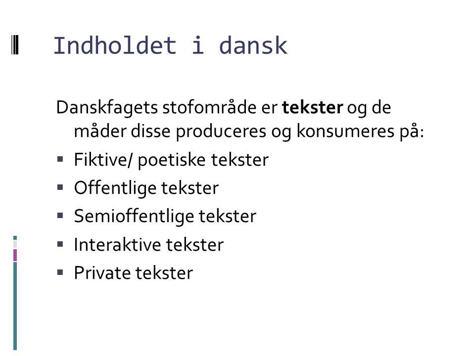 Indholdet i dansk Danskfagets stofområde er tekster og de måder disse produceres og konsumeres på: