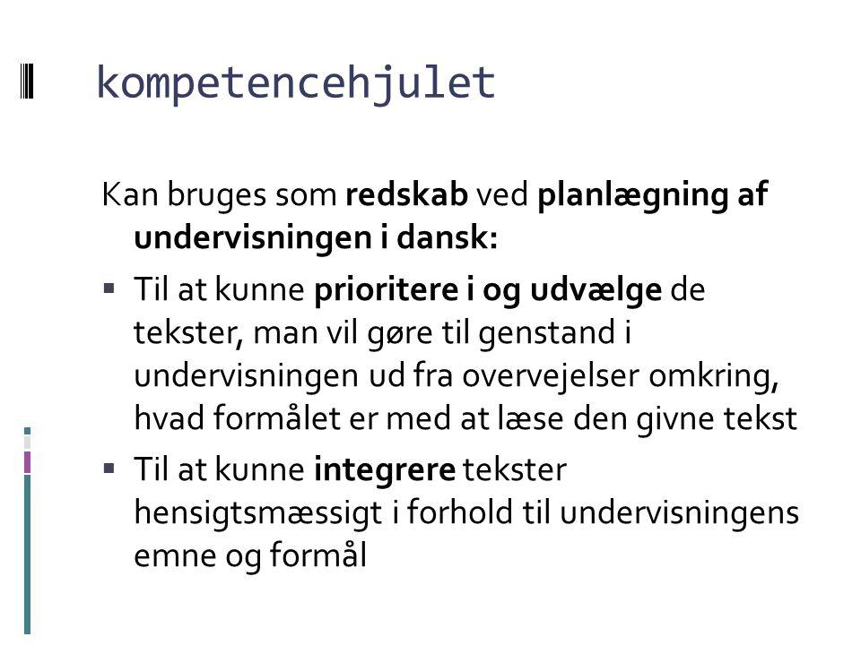 kompetencehjulet Kan bruges som redskab ved planlægning af undervisningen i dansk: