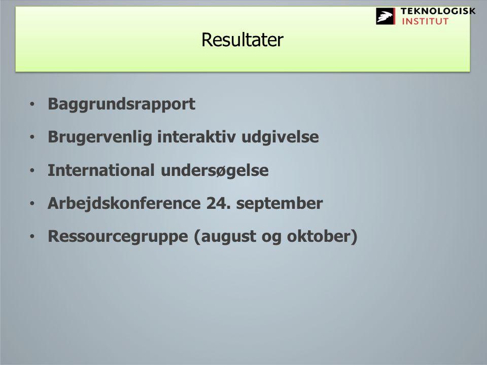 Resultater Baggrundsrapport Brugervenlig interaktiv udgivelse