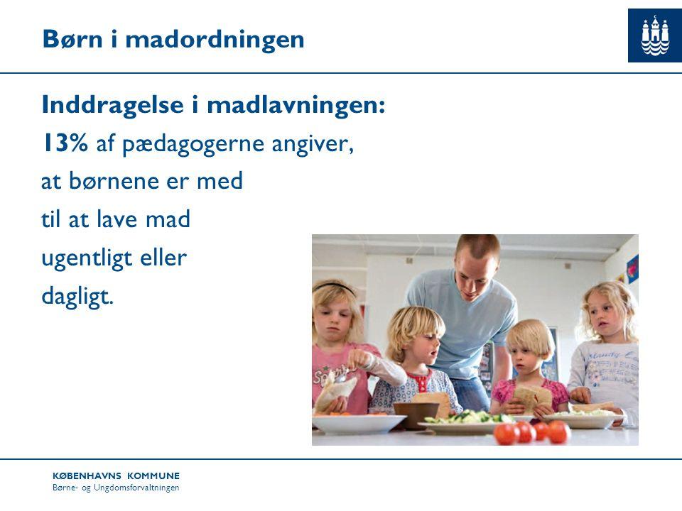 Børn i madordningen Inddragelse i madlavningen: 13% af pædagogerne angiver, at børnene er med til at lave mad ugentligt eller dagligt.