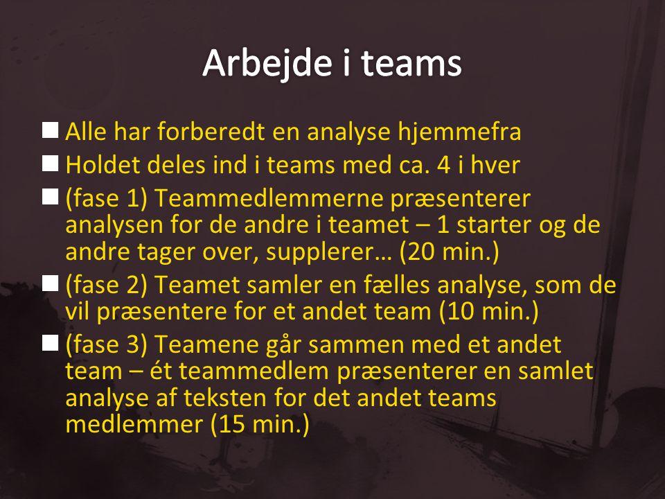 Arbejde i teams Alle har forberedt en analyse hjemmefra