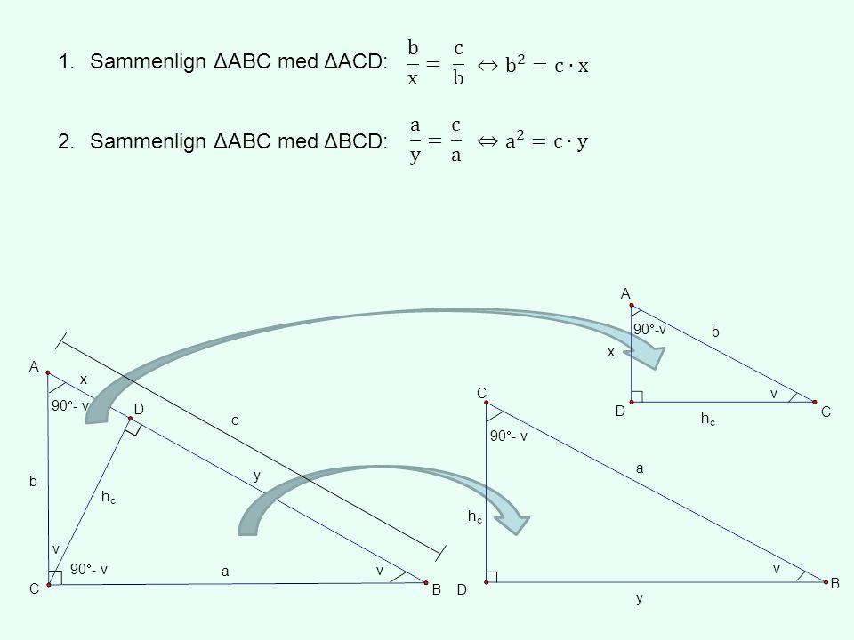 Sammenlign ΔABC med ΔACD: ⇔ b 2 =c∙x