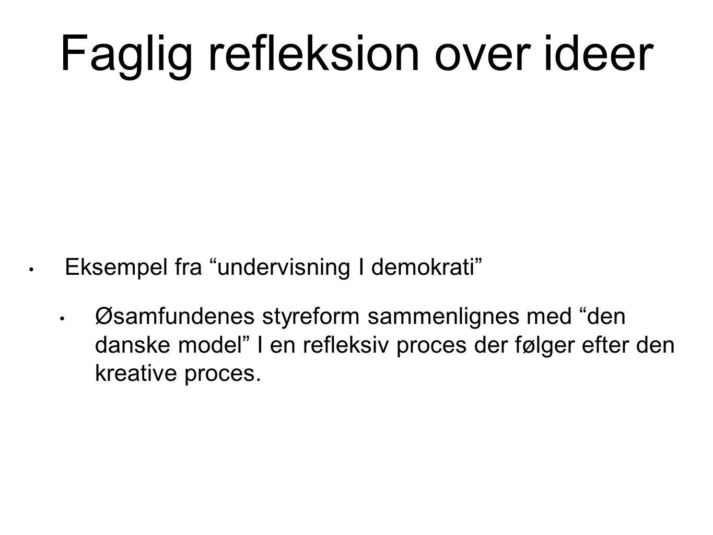 Faglig refleksion over ideer