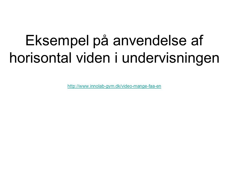 Eksempel på anvendelse af horisontal viden i undervisningen http://www
