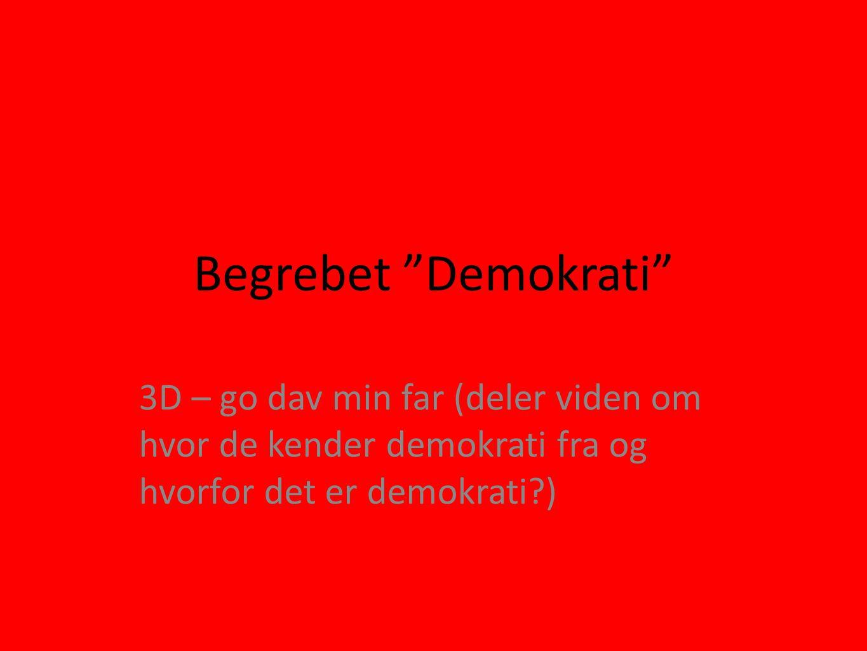 Begrebet Demokrati 3D – go dav min far (deler viden om hvor de kender demokrati fra og hvorfor det er demokrati )