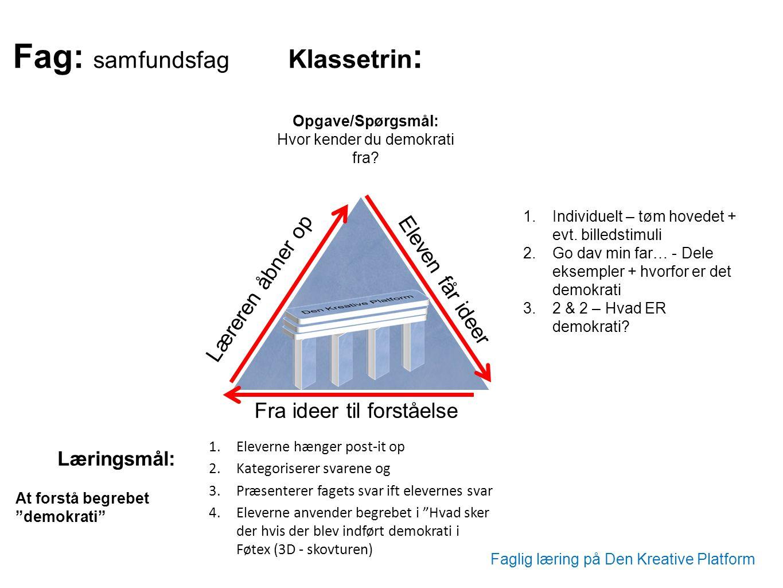 Fag: samfundsfag Klassetrin: