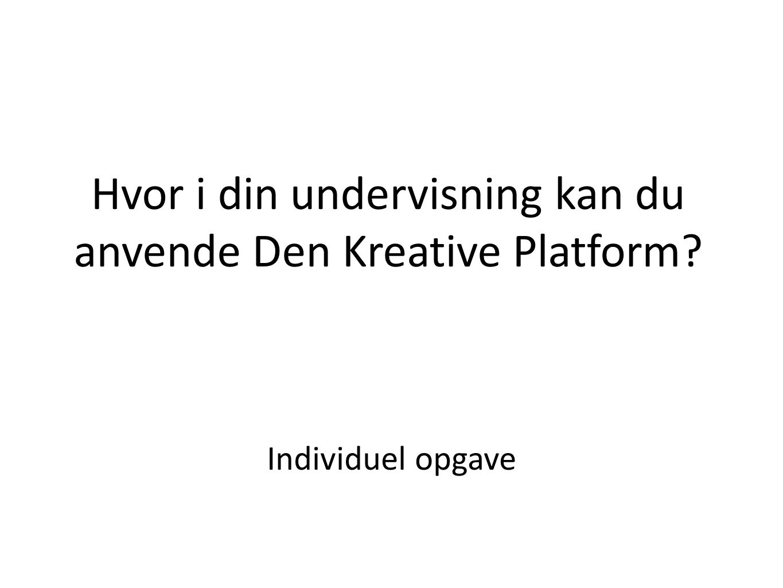 Hvor i din undervisning kan du anvende Den Kreative Platform
