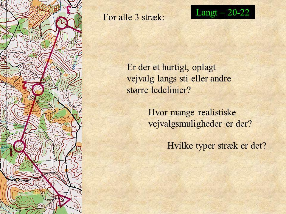 Langt – 20-22 For alle 3 stræk: Er der et hurtigt, oplagt vejvalg langs sti eller andre større ledelinier