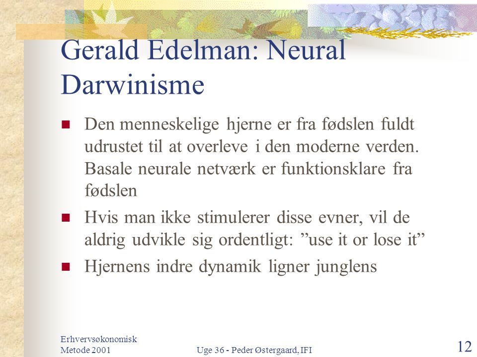 Gerald Edelman: Neural Darwinisme