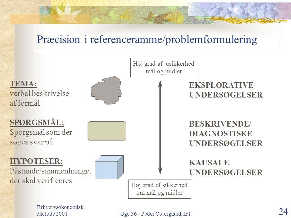 Præcision i referenceramme/problemformulering