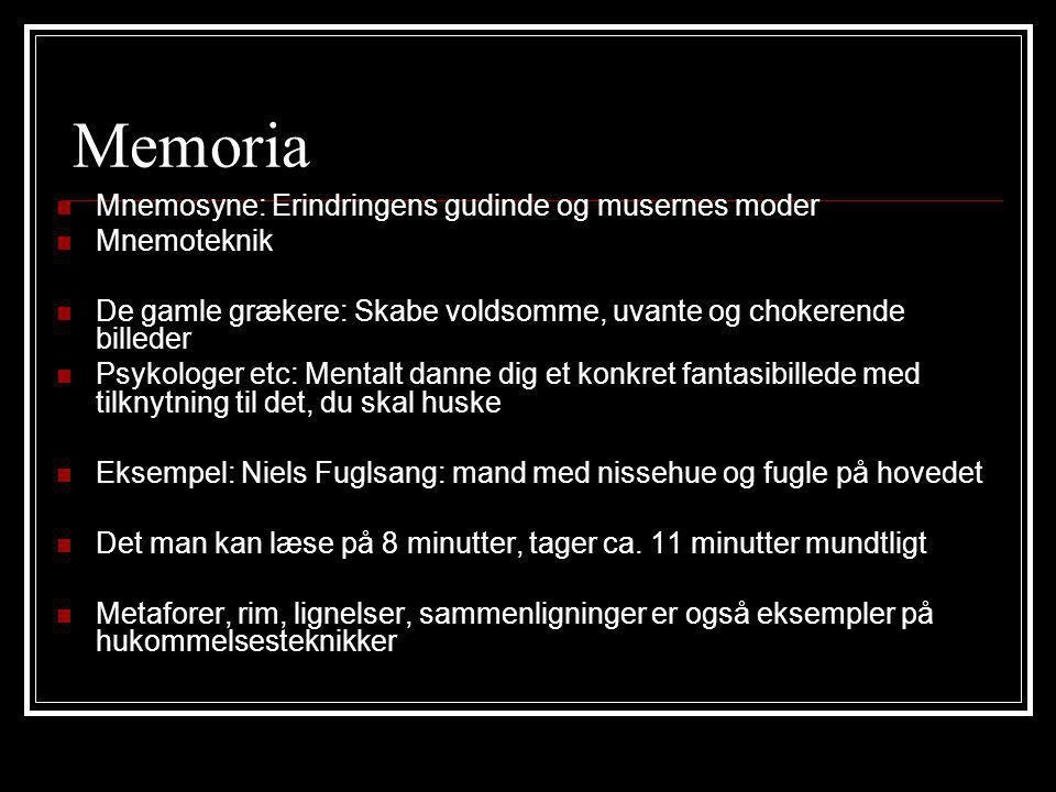 Memoria Mnemosyne: Erindringens gudinde og musernes moder Mnemoteknik