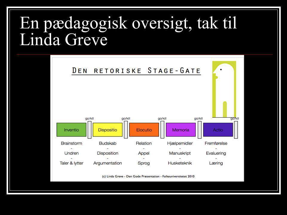 En pædagogisk oversigt, tak til Linda Greve