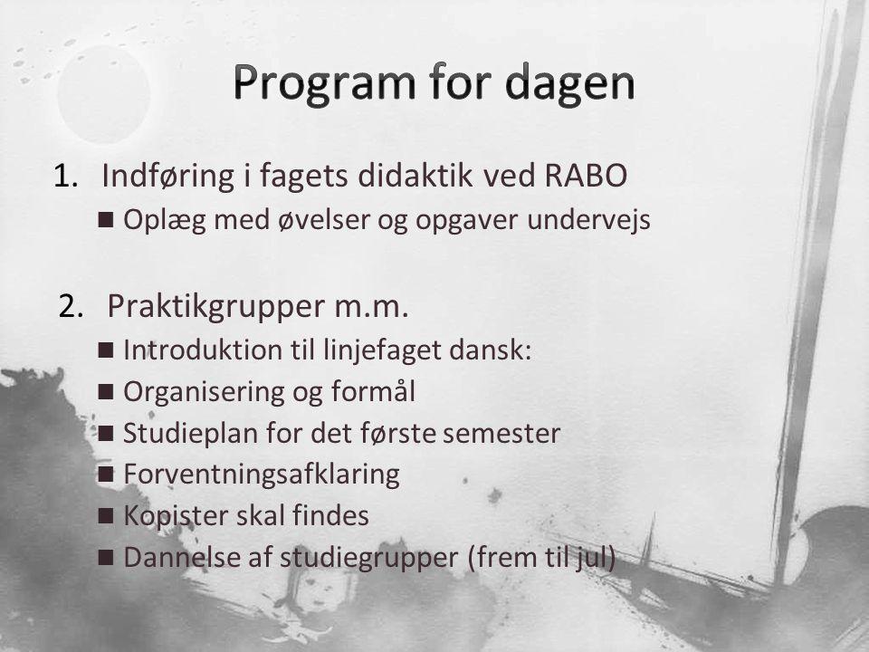 Program for dagen Indføring i fagets didaktik ved RABO