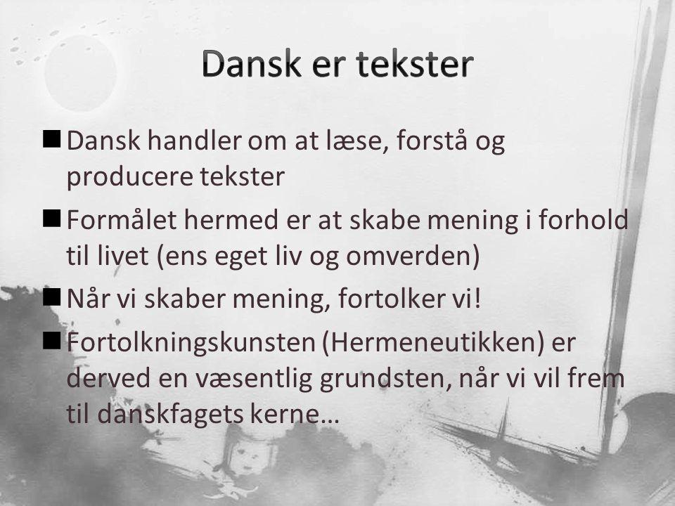 Dansk er tekster Dansk handler om at læse, forstå og producere tekster