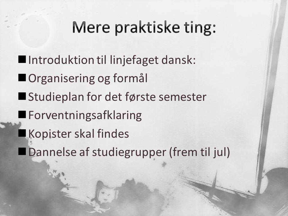 Mere praktiske ting: Introduktion til linjefaget dansk: