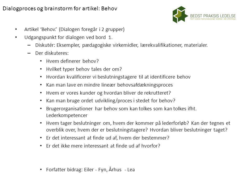 Dialogproces og brainstorm for artikel: Behov