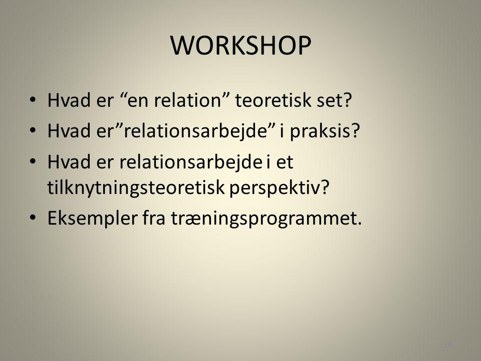 WORKSHOP Hvad er en relation teoretisk set