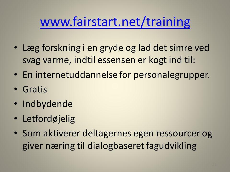 www.fairstart.net/training Læg forskning i en gryde og lad det simre ved svag varme, indtil essensen er kogt ind til: