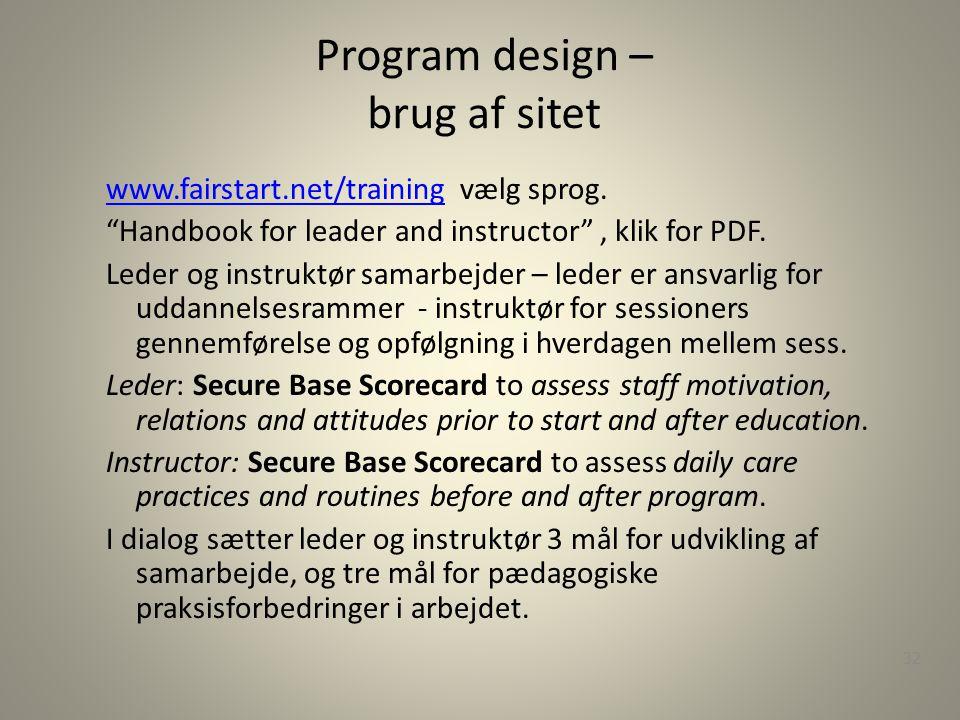 Program design – brug af sitet