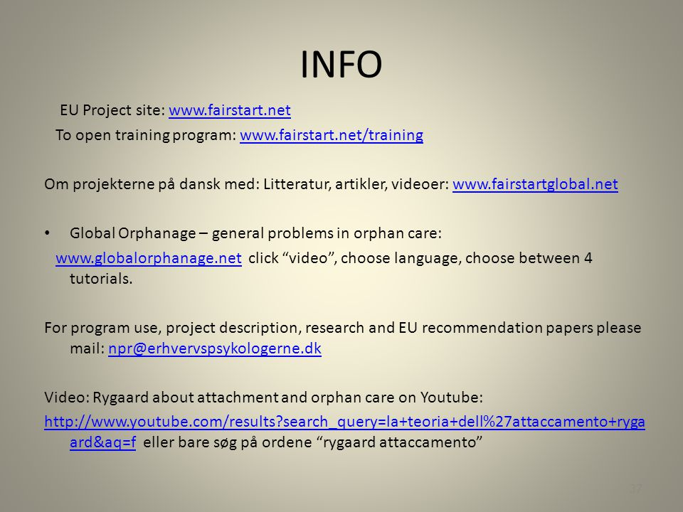 INFO EU Project site: www.fairstart.net