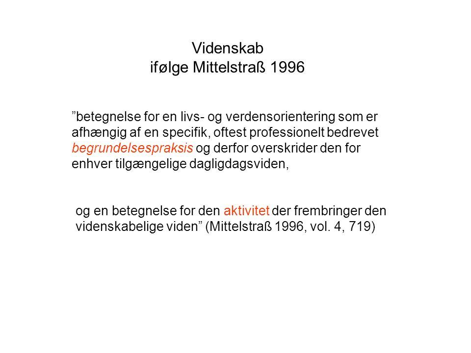 Videnskab ifølge Mittelstraß 1996